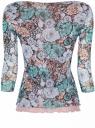 Блузка из комбинированной ткани oodji для женщины (бирюзовый), 24201005/14385/7335F