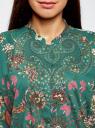 Блузка свободного силуэта с цветочным принтом oodji #SECTION_NAME# (зеленый), 21411109/46038/6D19F - вид 4