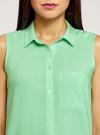 Топ вискозный с нагрудным карманом oodji для женщины (зеленый), 11411108B/26346/6500N - вид 4