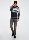 Пуловер с зимним узором и воротником-шалькой oodji #SECTION_NAME# (синий), 4L205022M/44012N/7912J - вид 6