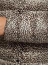 Куртка стеганая с круглым вырезом oodji #SECTION_NAME# (бежевый), 10204040-1B/42257/3329A - вид 5