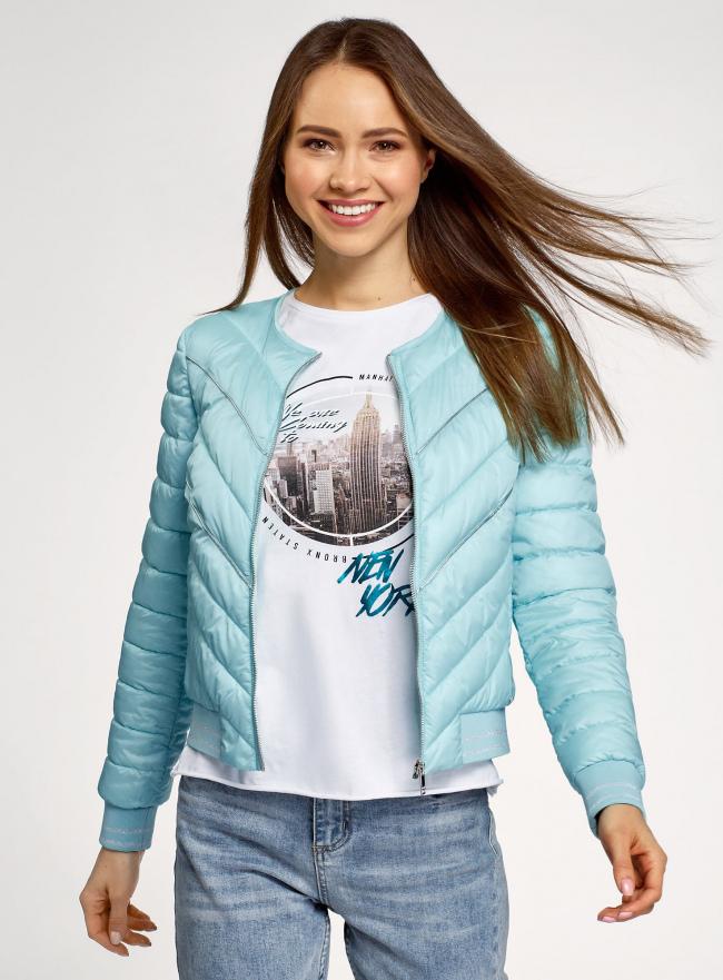 Куртка стеганая с круглым вырезом oodji #SECTION_NAME# (бирюзовый), 10203079/49439/7300B