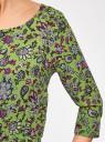 Платье вискозное с рукавом 3/4 oodji #SECTION_NAME# (зеленый), 11901153-1B/42540/6A4CF - вид 5