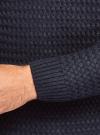 Джемпер ажурной вязки с круглым вырезом oodji #SECTION_NAME# (синий), 4L105066M/25365N/7900N - вид 5