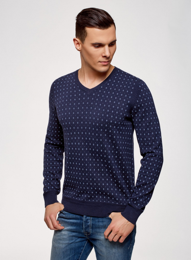 Пуловер хлопковый в мелкую графику oodji #SECTION_NAME# (синий), 4L212162M/21655N/7975G