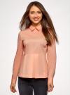 Блузка хлопковая с баской oodji #SECTION_NAME# (розовый), 13K00001-1B/42083/4300N - вид 2
