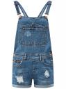 Комбинезон джинсовый с декоративными дырками oodji для женщины (синий), 13109063/45254/7500W