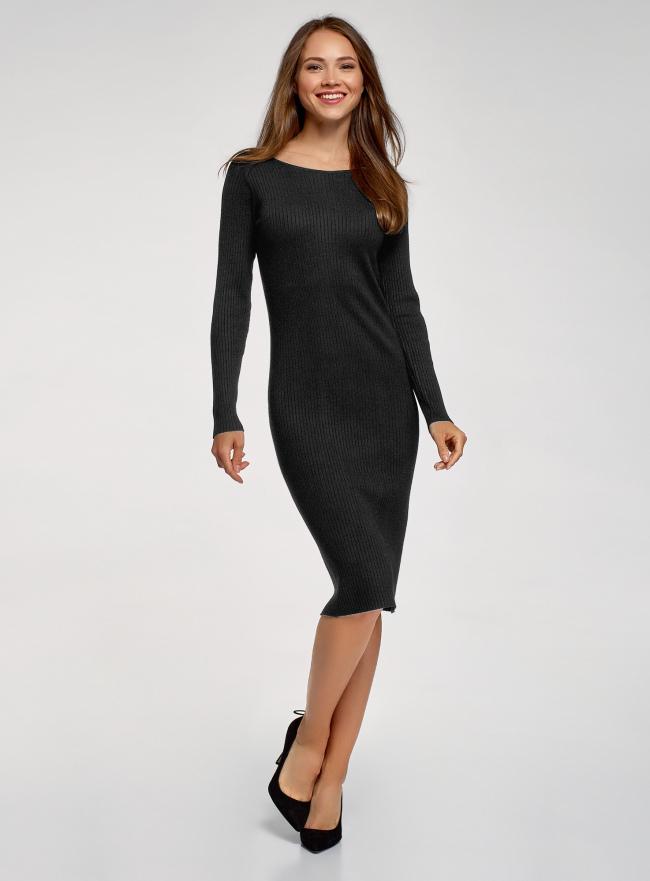 Платье вязаное в рубчик oodji для женщины (черный), 73912207-2B/45755/2900N
