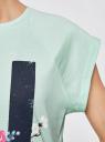 Футболка свободного кроя с принтом oodji для женщины (зеленый), 14707001-36/46154/6519P
