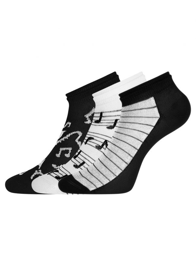 Комплект носков с двойной резинкой (3 пары) oodji для женщины (разноцветный), 57102703T3/47469/6