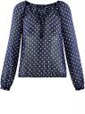 Блузка принтованная с завязками oodji #SECTION_NAME# (синий), 21418013-2/17358/7912D