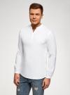 Рубашка льняная без воротника oodji #SECTION_NAME# (белый), 3B320002M/21155N/1000N - вид 2