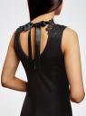 Платье с кружевной отделкой по горловине oodji для женщины (черный), 24015001-1/33038/2900N