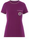 Футболка прямого силуэта с вышивкой oodji #SECTION_NAME# (фиолетовый), 14701090/46161/8300P