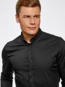 Рубашка приталенная с воротником-стойкой oodji #SECTION_NAME# (черный), 3L140115M/34146N/2900N - вид 4
