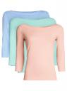 Комплект футболок с рукавом 3/4 (3 штуки) oodji для женщины (разноцветный), 24201010T3/46147/19AFN