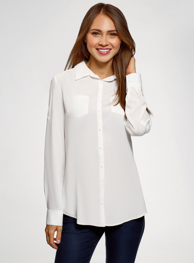 Блузка с нагрудными карманами и регулировкой длины рукава oodji для женщины (белый), 11400355-10B/42540/1200N