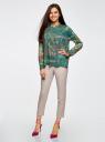 Блузка свободного силуэта с цветочным принтом oodji #SECTION_NAME# (зеленый), 21411109/46038/6D19F - вид 6