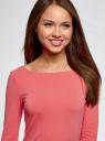 Платье трикотажное облегающего силуэта oodji #SECTION_NAME# (розовый), 14001183B/46148/4100N - вид 4