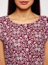 Платье принтованное из вискозы oodji #SECTION_NAME# (красный), 11910073-2/45470/4910F - вид 4