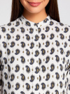 Блузка принтованная из вискозы с воротником-стойкой oodji #SECTION_NAME# (слоновая кость), 21411063-1/26346/1275E - вид 4