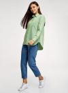 Рубашка свободного силуэта с длинным рукавом oodji для женщины (зеленый), 13K11023/33081/6210S - вид 6