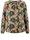 Блузка свободного кроя с вырезом-капелькой oodji #SECTION_NAME# (зеленый), 21400321-2/33116/6945F