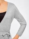 Жакет трикотажный с запахом oodji #SECTION_NAME# (серый), 63212495/18944/2000M - вид 5