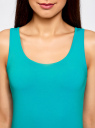 Комплект из двух базовых маек oodji для женщины (бирюзовый), 24315001T2/46147/7379N