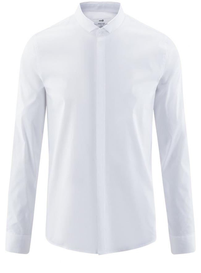 Рубашка приталенная с воротником-стойкой oodji для мужчины (белый), 3L140115M/34146N/1000N