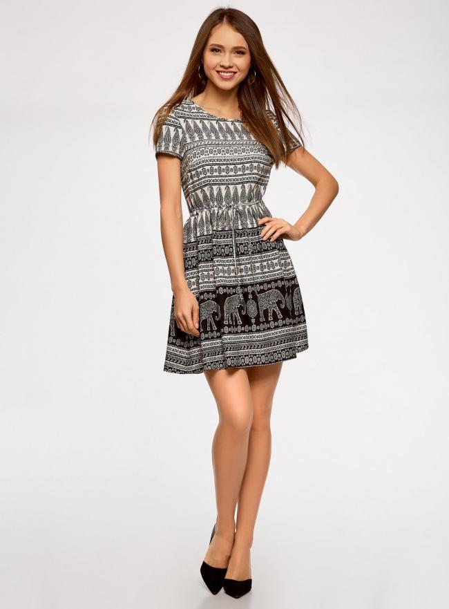 Платье принтованное из вискозы oodji #SECTION_NAME# (белый), 11900191-3/26346/1229E