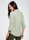 Блузка вискозная с регулировкой длины рукава oodji #SECTION_NAME# (зеленый), 11403225-3B/26346/6000N - вид 3