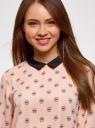 Блузка прямого силуэта с отложным воротником oodji #SECTION_NAME# (розовый), 11411181/43414/4029U - вид 4
