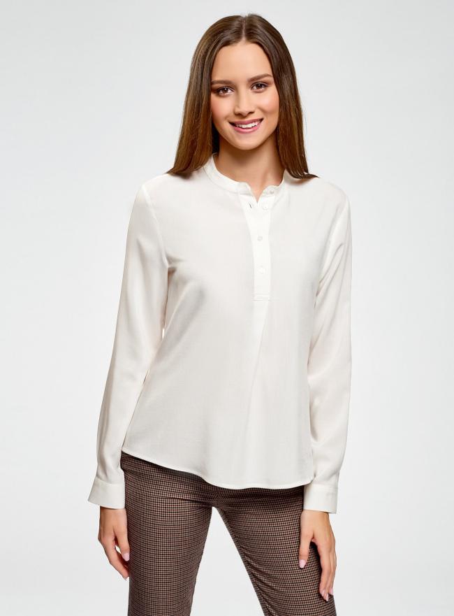 Блузка вискозная А-образного силуэта oodji #SECTION_NAME# (белый), 21411113B/26346/1200N