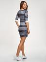 Платье трикотажное с этническим принтом oodji #SECTION_NAME# (серый), 14001064-3/35468/7923J - вид 3