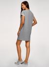Платье-футболка с принтом и отворотами на рукавах oodji #SECTION_NAME# (серый), 14008020-2/47999/2019Z - вид 3