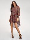 Платье шифоновое с асимметричным низом oodji для женщины (красный), 11913032/38375/4912E - вид 2