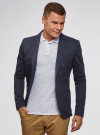 Пиджак из фактурной ткани с накладными карманами oodji #SECTION_NAME# (синий), 2L400164M/46265N/7900J - вид 2