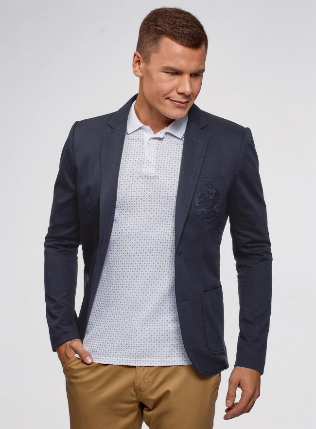Пиджак из фактурной ткани с накладными карманами oodji #SECTION_NAME# (синий), 2L400164M/46265N/7900J