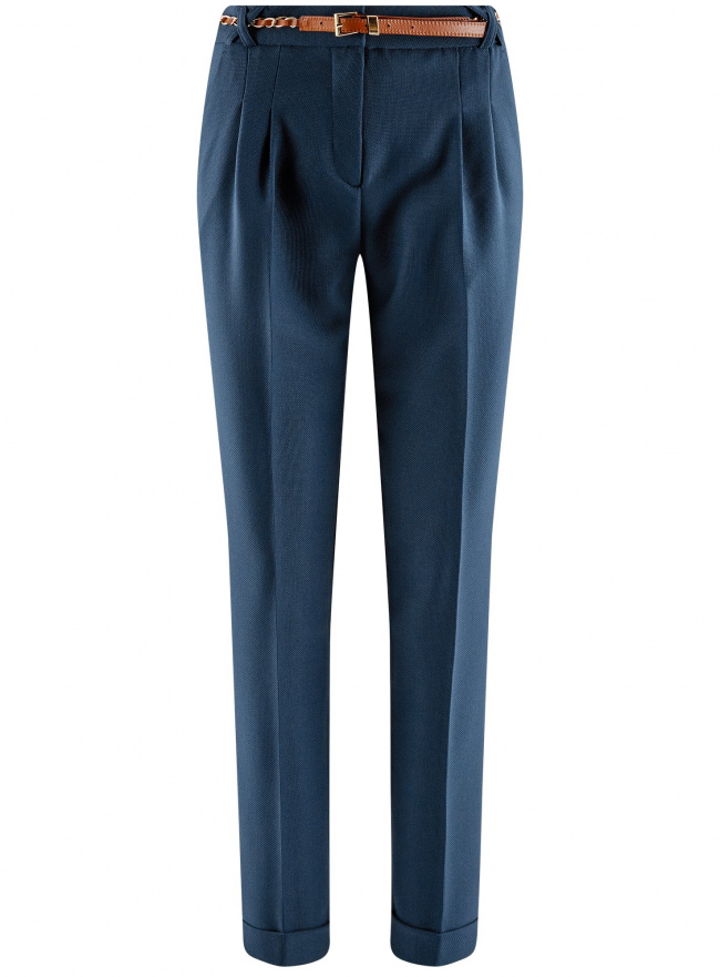 Брюки из фактурной ткани с ремнем oodji для женщины (синий), 21714019-3/46742/7901N