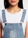 Комбинезон джинсовый с декоративными потертостями oodji для женщины (синий), 13108002/45254/7000W