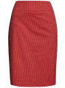 Юбка прямая жаккардовая oodji для женщины (красный), 21601236-13/46373/4533D