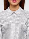 Блузка хлопковая с баской oodji #SECTION_NAME# (белый), 13K00001B/26357/1029G - вид 4