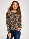 Свитшот принтованный из фактурной ткани oodji для женщины (коричневый), 14807001-3/33537/2935E
