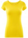Футболка базовая приталенная oodji для женщины (желтый), 14701005-7B/46147/5100N - вид 6