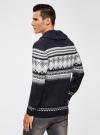 Пуловер с зимним узором и воротником-шалькой oodji #SECTION_NAME# (синий), 4L205022M/44012N/7912J - вид 3