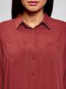 Блузка с нагрудными карманами и регулировкой длины рукава oodji #SECTION_NAME# (красный), 11400355-8B/48458/4900N - вид 4