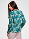 Блузка свободного кроя с вырезом-капелькой oodji #SECTION_NAME# (зеленый), 21400321-2/33116/6D33F - вид 3