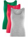 Комплект из трех базовых маек oodji для женщины (разноцветный), 24315001T3/46147/19AWN