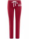 Брюки трикотажные с завязками oodji #SECTION_NAME# (красный), 16700045-2B/46949/4900N